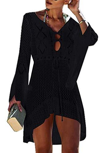 Jinsha Vestido de Playa - Mujer Pareos y Camisola de Playa Sexy Hueco Traje de Baño Punto Bikini Cover up,...