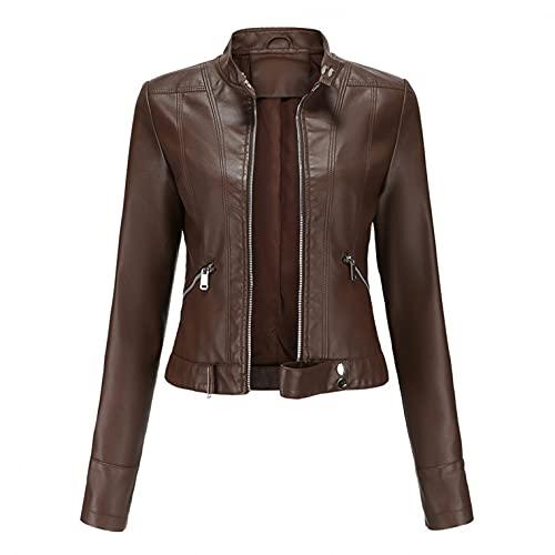 Cazadora Cuero Mujer Negra Cazadora Polipiel Mujer Chaqueta Cuero Mujer Marron Leather Jacket Chaqueta Corta...