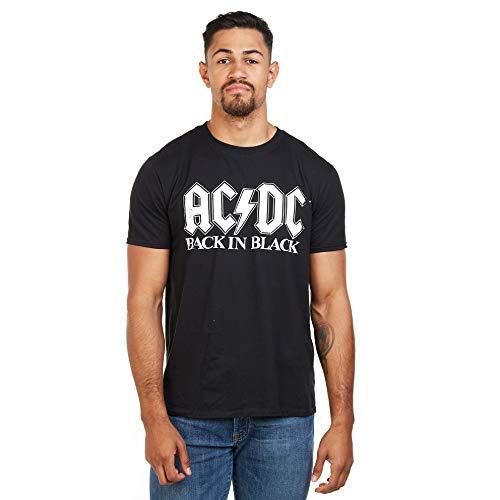 AC/DC Back in Black Camiseta, Negro, M para Hombre