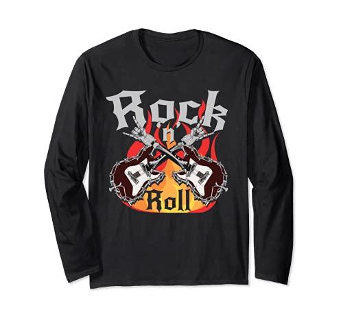Esqueleto Huesos Guitarista Música Rock Rockero Guitarra Manga Larga