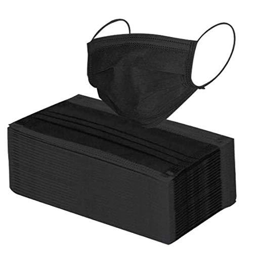 Cuidado personal No Reutilizable Negra para De 100 Pack_Mascarillas Adultos_Desechables (Negro-100pc, Talla...