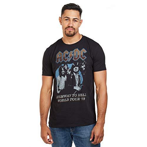 AC/DC ACDC-Highway World Tour 79' -s T-Lrg Camiseta, Negro (Black Blk), Large (Talla del Fabricante: Large)...