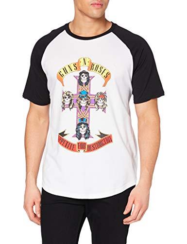 Guns & Roses Guns N' Roses Appetite for Destruction Camiseta, Blanco (Negro/Blanco), XL para Hombre