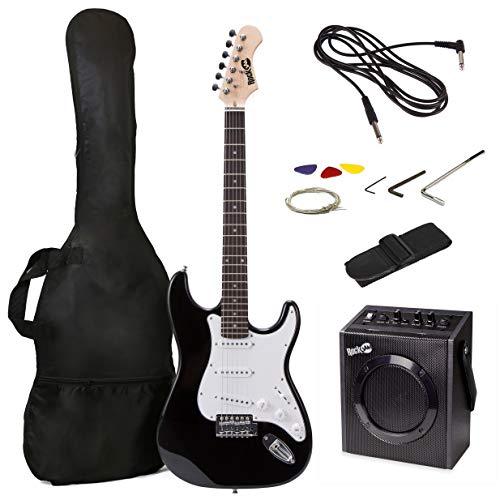Kit de guitarra eléctrica RockJam de tamaño completo con amplificador de guitarra de 20 vatios, lecciones,...