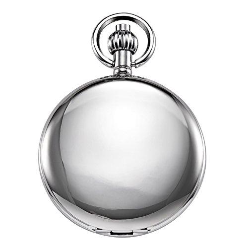 Reloj de bolsillo unisex Treeweto con cadena, analógico, cuerda de mano, esqueleto antiguo, números romanos,...