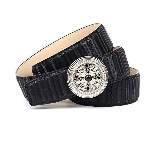 Anthoni Crown Ledergürtel Cinturón, Negro, 110 cm para Mujer