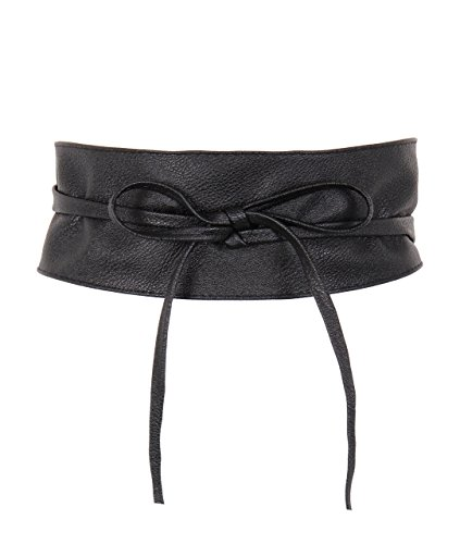 KRISP Cinturón Mujer Ancho Corsé Atado Cordón Cuero De Imitación, Negro, 14987-BLK-OS