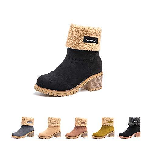 Botas Mujer Invierno Forradas Cálidas Botines Ante Plataforma Zapatos Nieve Cómodos Casual Negro EU 37