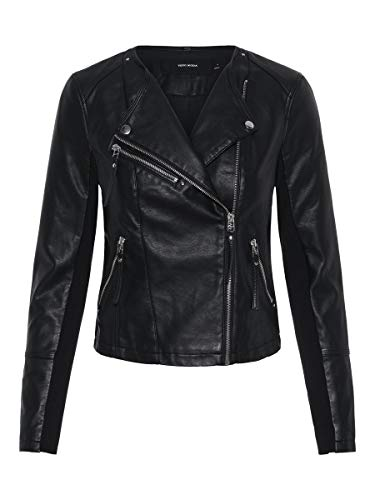 Vero Moda Vmria FAV Short Faux Leather Jacket Noos Chaqueta, Negro (Black Black), 40 (Talla del Fabricante:...