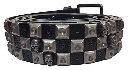 Einkaufszauber Cinturón de piel con tachuelas, diseño de calavera negro/plateado 105 cm