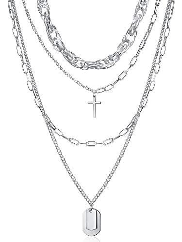 Collar de Colgante de Bloqueo de Mujer Gargantilla Gruesa de Declaración Collar Multicapa Punk de Cadena...