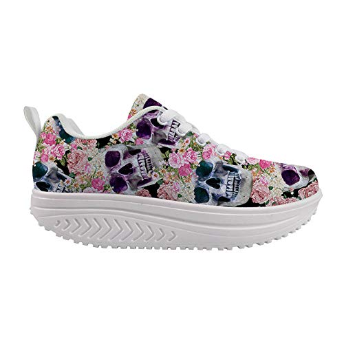 Woisttop Zapatos de oscilación de cuña para mujer con aumento de la altura de los zapatos cómodos de batir...