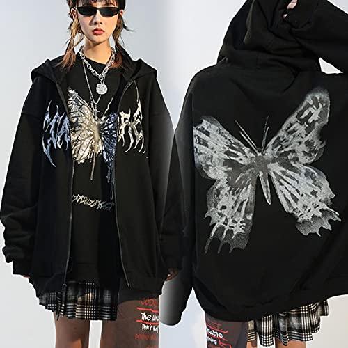 xiaozhou Mujeres Hip Hop Streetwear Hoodies Chaqueta de Las Mujeres Mariposa Imprimir Capa Goth Harajuku Y2K...