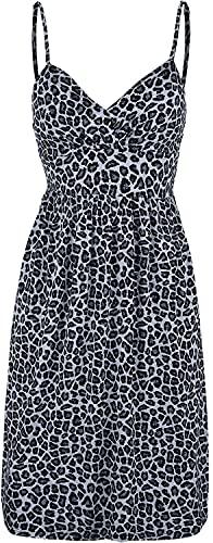 Rock Rebel by EMP Vestido Corto con Estampado Leopardo y Tirantes Ajustables Mujer Vestido Corto Gris M