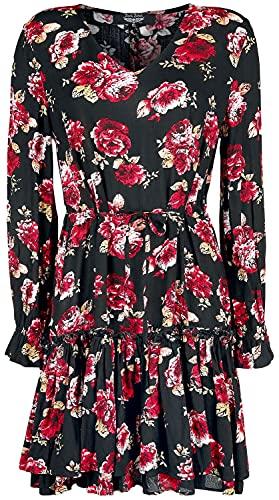 Rock Rebel by EMP Black/Red Floral All-Over Mujer Vestido Corto Negro/Rojo L, 100% Viscosa,