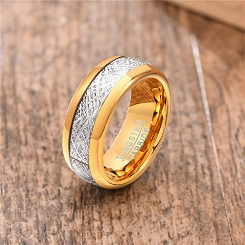 JIUXIAO Anillo de Compromiso de tungsteno de tungsteno de Color Dorado y Plateado de 8 mm, Anillo de...