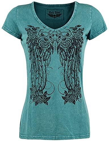 Rock Rebel by EMP Shades of Truth Mujer Camiseta Petróleo L, 100% algodón, Regular