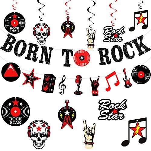 26 Piezas Pancarta Brillante de Born To Rock Banner de Elementos Musicales Rock Remolinos Espirales Colgantes...
