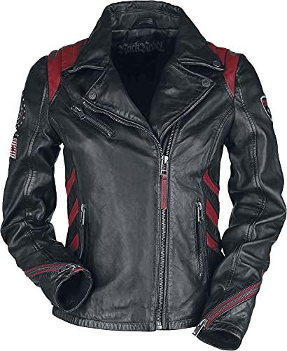 Rock Rebel by EMP Chaqueta de piel negra/roja en estilo motero con parches Mujer Chaqueta de Cuero negro/rojo...
