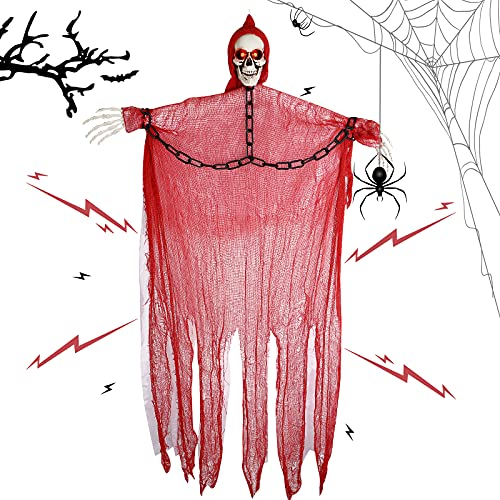 Opaltool Decoraciones de fantasmas colgantes de Halloween, 1,5 m, calavera de Halloween con ojos brillantes...