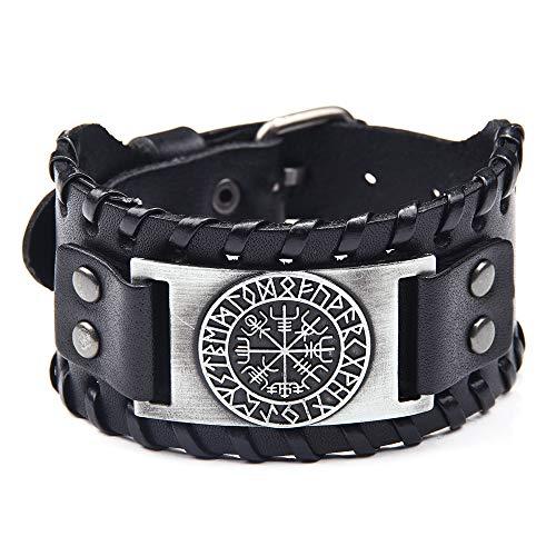 Pulsera de cuero negro para hombres, estilo vikingo con vegvisir, brújula nórdica con runas