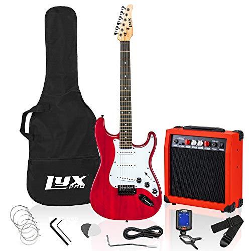 LyxPro 99 cm Paquete de kit de guitarra eléctrica con amplificador de 20 W, todos los accesorios, afinador...