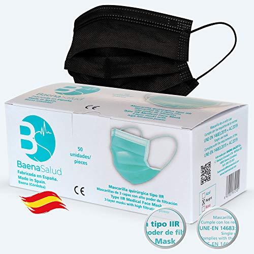 BAENA SALUD 50 Mascarillas Quirúrgicas, desechables, Tipo IIR, en color negro, filtración (BFE) 98%, hechas...