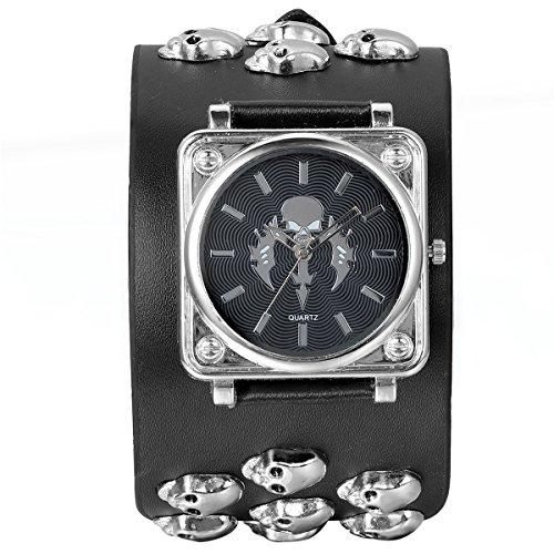 Jewelrywe Reloj de Pulsera Hombre Cráneos, Pulsera Punk Rock Biker, Negro Pulsera Grande de Cuero