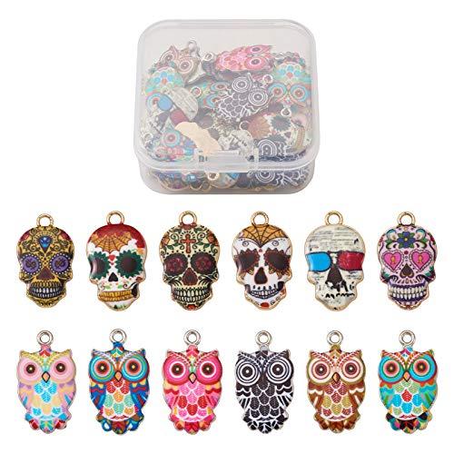 Cheriswelry 48 colgantes de calavera con forma de búho, de aleación, para Halloween, diseño de calavera,...