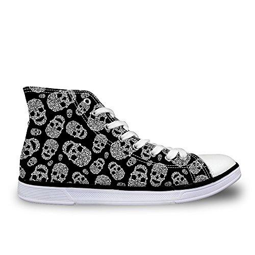 Flowerwalk - Zapatillas de Lona para Hombre, con Cordones, cómodas Zapatillas de Lona, Calaveras, Zapatillas...