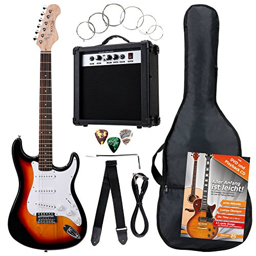 Rocktile Banger - Pack de 7 piezas, guitarra eléctrica, sunburst