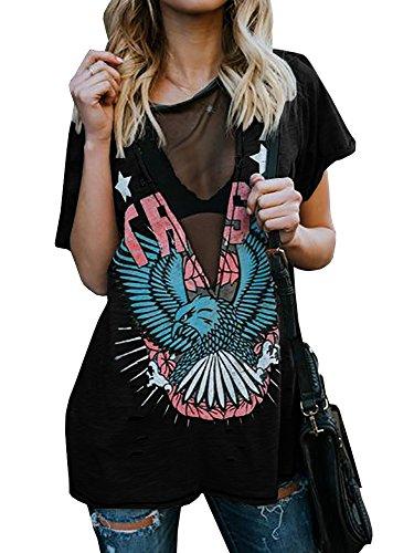Outgobuy Camiseta de manga corta para mujer, sexy, punk, rock, con estampado de águila, informal, cuello en V...