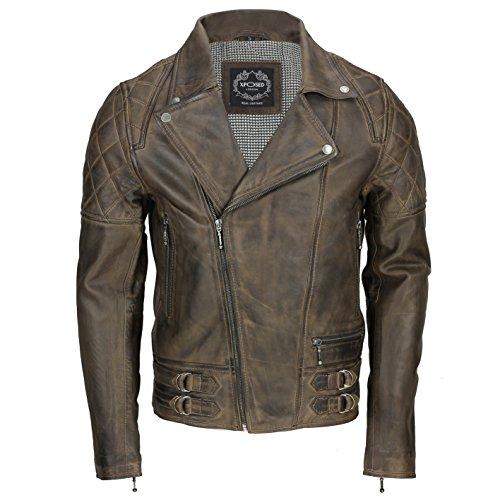 Xposed Chaqueta de motorista de piel auténtica suave vintage para hombre, color negro lavado, marrón...