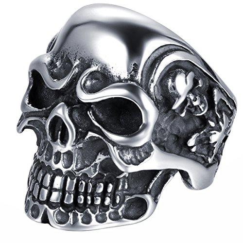 JewelryWe Anillo de Acero Inoxidable para Hombre, diseño de Calavera, Varias Tallas, con Bolsa de Regalo,...