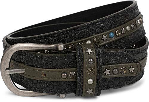 styleBREAKER cinturón de remaches en una moderna óptica trenzada, recubierto con tachuelas y remaches de...