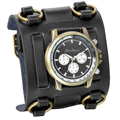 JewelryWe Reloj de Pulsera Grande Negro de Estilo Gótico Punky Hip-Hop para Hombres Chicos, Correa de Cuero...
