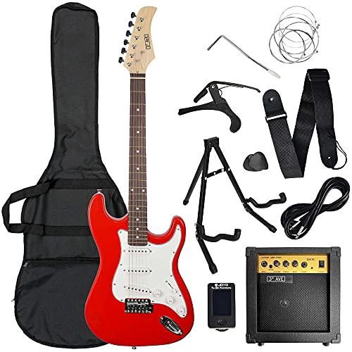 3rd Avenue Conjunto de guitarra eléctrica de iniciación de tamaño estándar con amplificador, afinador,...