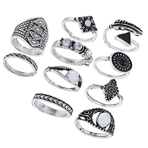 FENICAL Anillos de Dedo étnicos Conjunto exagerado combinación de Piedras Preciosas Anillos Traje de la...