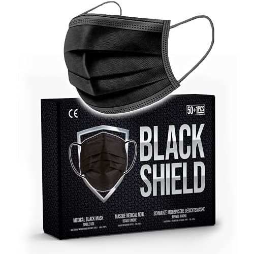 BLACK SHIELD - 50 unidades - Mascarilla Quirúrgica Tipo I Negra - Certificación CE - 3 capas - Filtración...