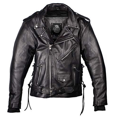 IGUANA CUSTOM - Chaqueta de moto de piel para hombre de estilo rockero CRUZADA de cuero de primera calidad,...