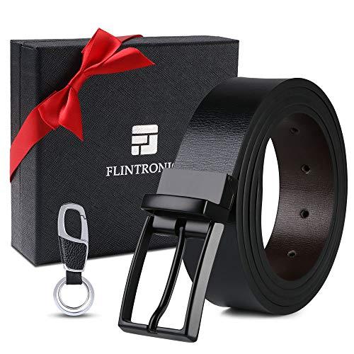 flintronic ® Cinturón Cuero Hombre, 125cm Cinturón con Reversible Correa de Hebilla de Pin Para Jeans,...