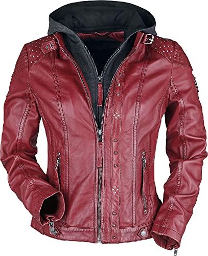 Rock Rebel by EMP Chaqueta roja de piel con capucha gris y tachuelas Mujer Chaqueta de Cuero rojo/gris L