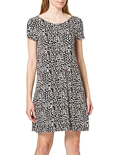 Only Onlbera Back Lace Up S/S Dress Jrs Noos Vestido, Negro/AOP: Eggnog/Black Leo, XL para Mujer