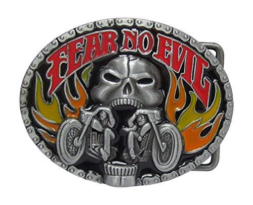 Hebilla de cinturón para moto o biker fear no evil calavera